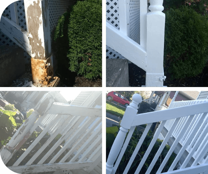 before and after shots of a fence painting project